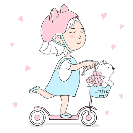 Cute girl on a scooter and with a cat in the basket. Colorful vector illustration on white background in sketch style.