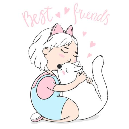 Cute girl hugs a white cat. Colorful vector illustration on white background in sketch style. Stock Illustratie