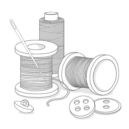 Spools of thread, buttons, and a sewing needle. Needlework and handmade themes. Monochrome vector illustration in sketch style. Black outline on white background.