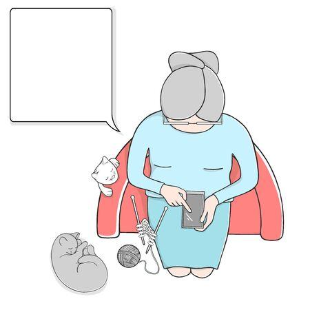 Elderly woman with a smartphone and a cat sits in a comfortable chair and knits. Colorful vector illustration on white background. The view from the top. Template. Mock up.