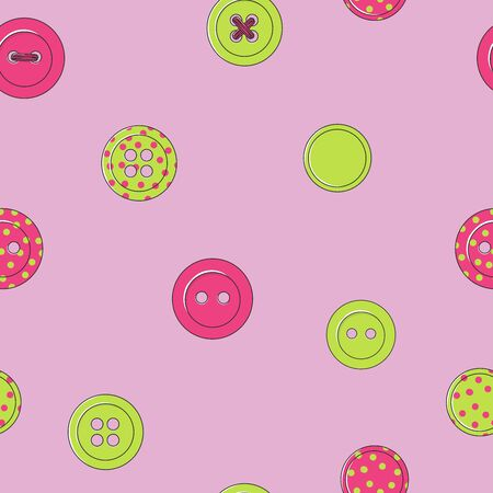 Seamless pattern with multi-colored buttons on a pink background. Buttons of clothing, painted decorative elements in the vector. Colorful vector illustration in sketch style.