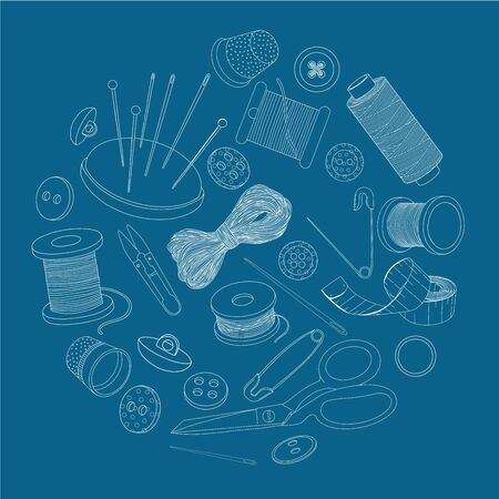 Sewing supplies are arranged in a circle. Spools of thread, buttons and sewing needles, pins. Monochrome vector illustration in sketch style. White outline on a blue background.