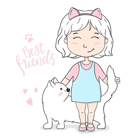 Cute girl with a white cat. Colorful vector illustration on white background in sketch style.