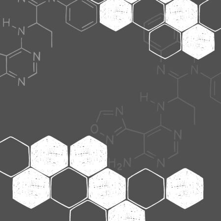 Frame on the theme of science and chemistry. Space for your text. Molecular structure, formulas. White outline on a dark background. Vector illustration in sketch style.