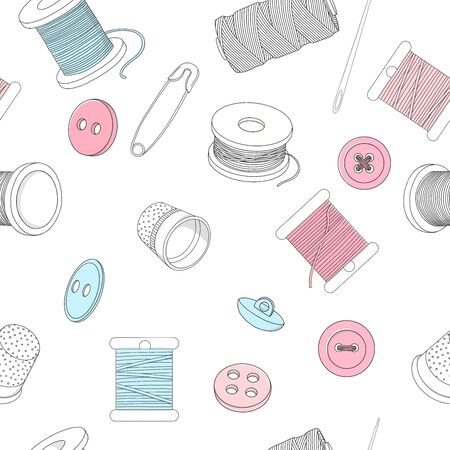 Seamless pattern with sewing accessories on a white background. Spools of thread, buttons and sewing needles, pins. Vector illustration in sketch style.