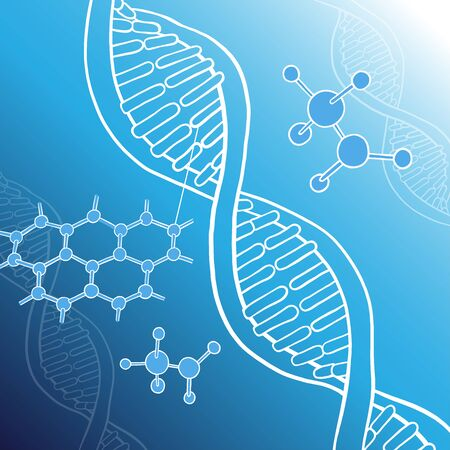 Poster on the theme of science and chemistry. Structure of the DNA molecule, atoms, molecular structure. White outline on a blue background. Vector illustration in sketch style.