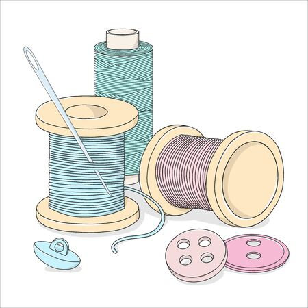 Spools of thread, buttons, and a sewing needle. Needlework and handmade themes. Colorful vector illustration in sketch style. Stock Illustratie