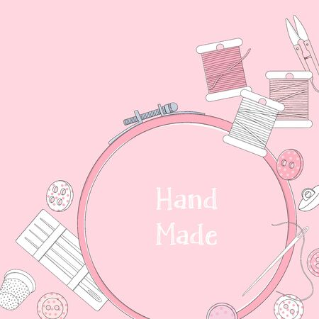Creative frame with embroidery accessories on a pink background. Embroidery threads, buttons, needles, embroidery frames and a place for your text. Template. Mock up.