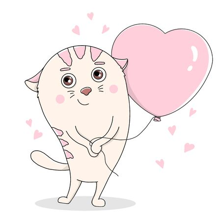 Cute cat with a balloon in the form of a heart. Colorful vector illustration on white background. Hand-drawn. Valentine s day.