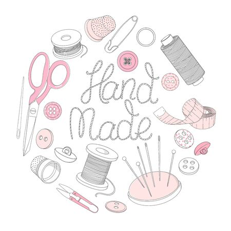 Creative lettering and sewing accessories are arranged in a circle. Spools of thread, scissors, buttons, sewing needles, and thimbles. Monochrome vector illustrations in sketch style. Stock Illustratie