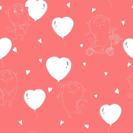 Seamless pattern with cute cats with balloons in the shape of a heart and on a scooter. White outline on a red background. Hand-drawn. Valentine s day.