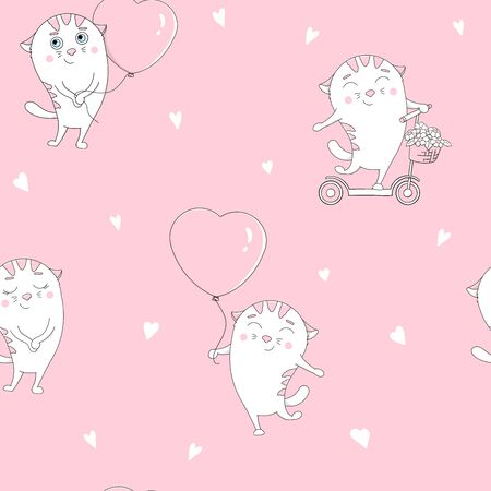 Seamless pattern with cute cats with balloons in the shape of a heart and on a scooter. White cats on a pink background. Hand-drawn. Valentine s day.
