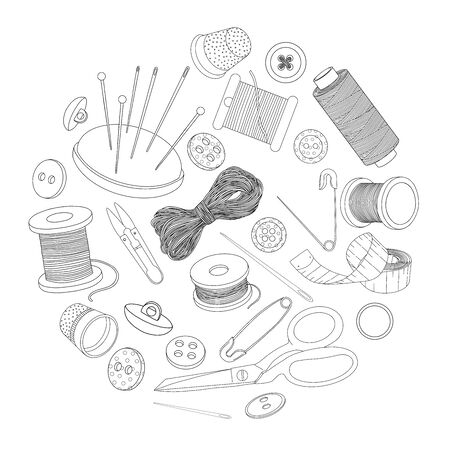 Set with sewing supplies arranged in a circle. Spools of thread, buttons and sewing needles, pins. Monochrome vector illustration in sketch style. Black outline on a white background. Ilustracja