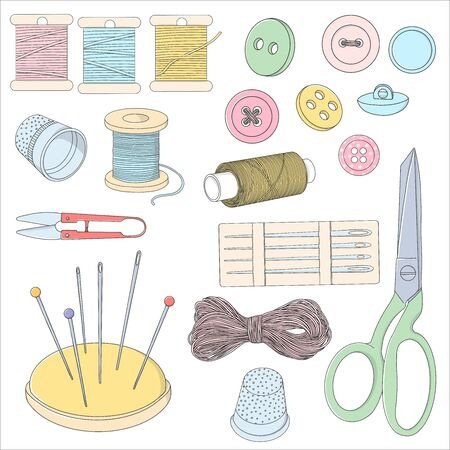 Set with sewing accessories. Spools of thread, buttons and sewing needles, a thimble and scissors. Colorful vector illustration in sketch style. Çizim