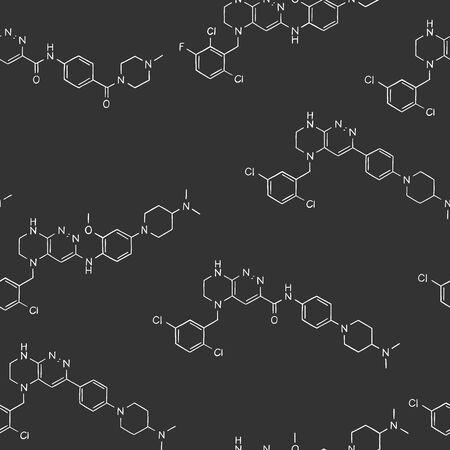 Seamless pattern on the topic of science and chemistry. Structural formulas of substances. White outline on a dark background. Vector illustration in sketch style.
