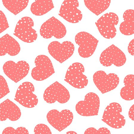 Seamless pattern with pink hearts on a white background. Romantic Wallpaper, textiles, clothing, wrapping paper. Vector illustration in sketch style. Valentines day.