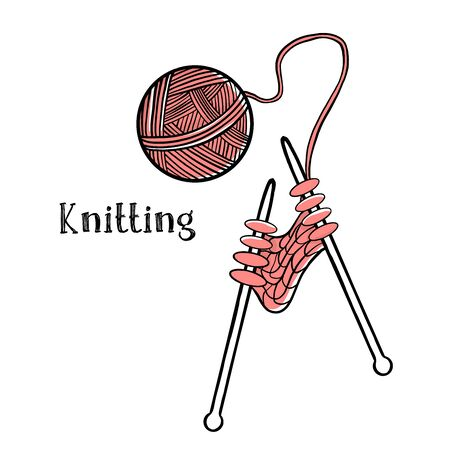 Ball of wool for knitting and knitting needles on a white background. Theme of needlework, Hobbies and knitting. Colorful vector illustration in sketch style. Space for your text. Template.