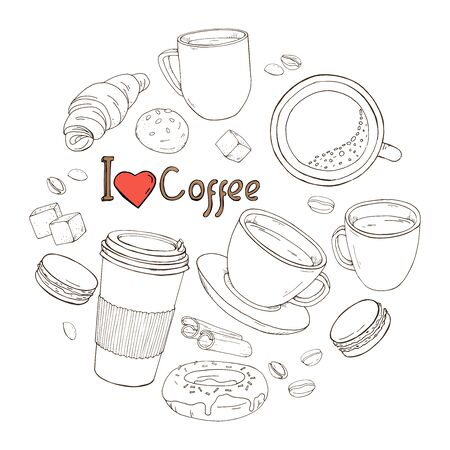 Set on the theme of coffee in the form of a circle. Cups of coffee, pastries, sweets and coffee beans. I like coffee. Dark outline on a white background. Vector illustration in sketch style.