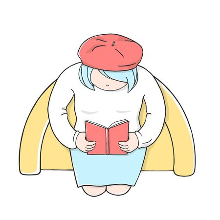 Woman in a red beret is sitting in a comfortable chair reading a book. Colorful vector illustration on white background. The view from the top.