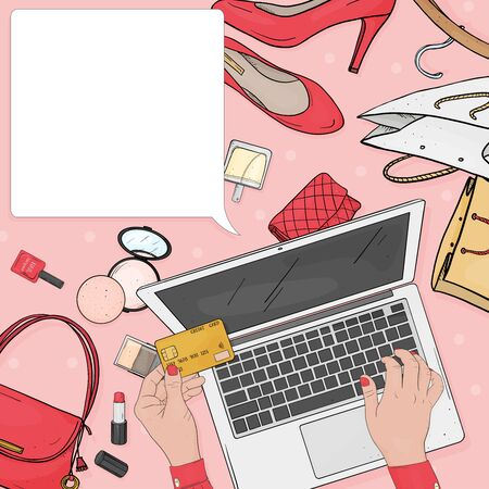Womens hands use a credit card and laptop to pay for online purchases with credit cards. Cosmetics, accessories and space for your text on a pink background. The view from the top. Mock up. Template.