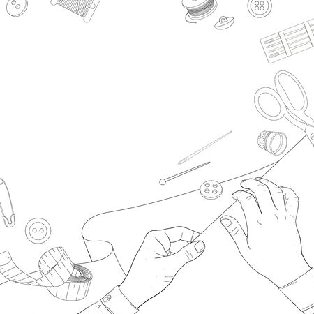 Women s hands with sewing accessories and fabric. Reels of thread, fabrics, buttons, needles, pins, and scissors. Black outline on a white background. Monochrome vector illustration in sketch style. Template. Ilustração