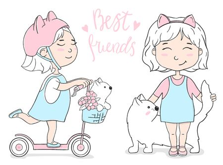 Set with a cute girl on a scooter and a cat. Colorful vector illustration on white background in sketch style.