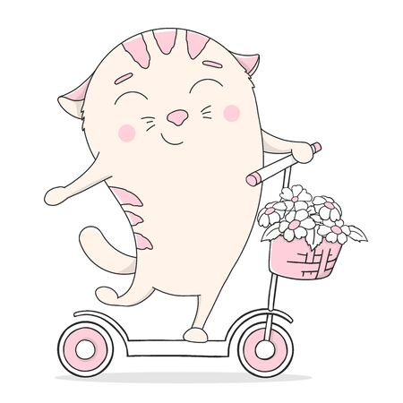 Cute kitty on a scooter. Colorful vector illustration on white background. Hand-drawn.