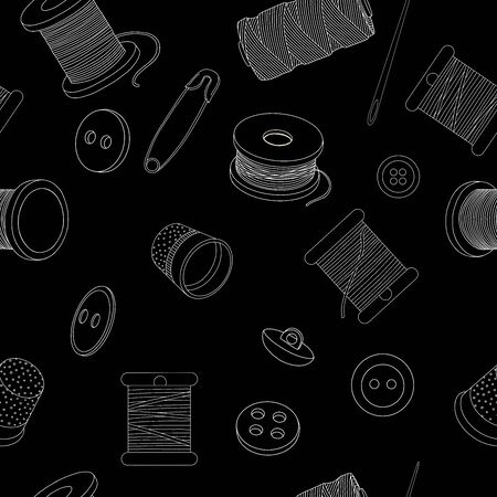 Seamless pattern with sewing accessories. Spools of thread, buttons, sewing needles, and pins. Vector illustration in sketch style. White outline on a black background.