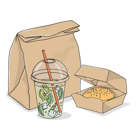 Take-away food. A paper bag, lemonade in a disposable glass, and a sandwich on a white background. Fast food delivery.