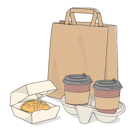 Take-away food. Paper bag, coffee in a disposable Cup and a sandwich on a white background. Fast food delivery.