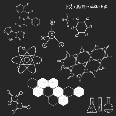 Set on science and chemistry. Structure of the DNA molecule, atoms, molecular structure. White outline on a dark background. Vector illustration in sketch style. Hand-drawn. Ilustracja