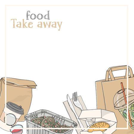 Take-away food. Paper bags, drinks, hot food and sandwiches in disposable packaging on a white background. Fast food delivery. Space for your text. Template. Mock up. Hand-drawn.