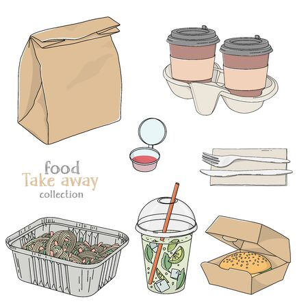 Set with food and drinks in a disposable package. Paper bag, coffee, lemonade, sandwich and Cutlery on a white background. Take-away food. Fast food delivery. Ilustracja
