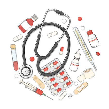 Poster on the theme of health. Set with a stethoscope, medicines and tablets arranged in a circle. Vector illustration in sketch style on a white background. 向量圖像