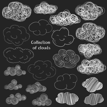 Set with various hand-drawn clouds. White outline on a black background. Vector illustration in sketch style. Doodle.