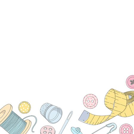 Creative frame with sewing accessories and space for your text. Spools of thread, buttons and sewing needles, pins and a sewing centimeter. Vector illustration in sketch style. Template. Mock up.