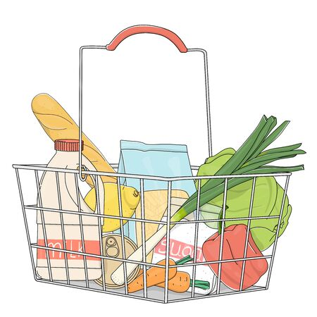 Grocery basket from the supermarket with products. Grocery, fruit, vegetables on a white background. Colorful vector illustrations. Hand-drawn.
