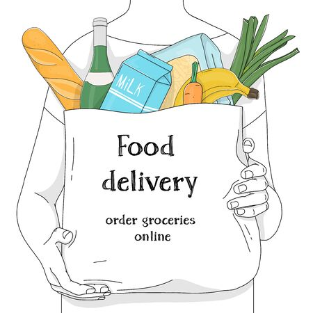 Unrecognizable person carries a paper bag from a supermarket with groceries and advertising on it. Food delivery. Vector illustrations. Hand-drawn. Black outline on a white background.