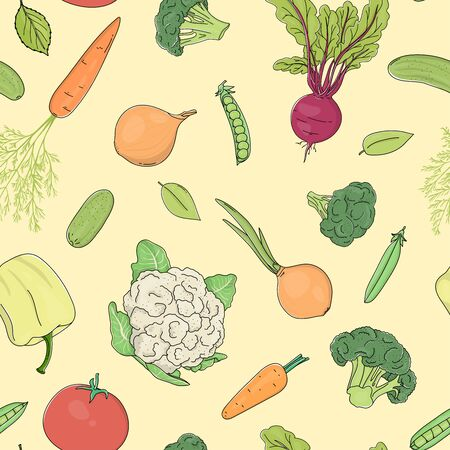 Seamless pattern with vegetables on a yellow background. Colorful vector illustration in sketch style. Hand-drawn.