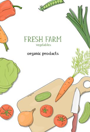 Poster with ripe farm vegetables and a cutting Board. Space for your text. Colorful vector illustrations. Hand-drawn. Template. Mock up. For advertising, website, booklets, leaflets.