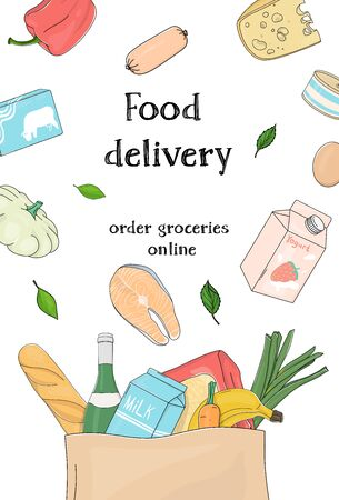 Poster with grocery and farm vegetables in a paper bag on a white background. Food delivery. Colorful vector illustrations. Hand-drawn. Template. For advertising, website, booklets, leaflets.  イラスト・ベクター素材