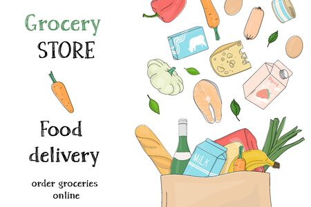 Poster with grocery and farm vegetables in a paper bag on a white background. Food delivery. Colorful vector illustrations. Hand-drawn. Template.