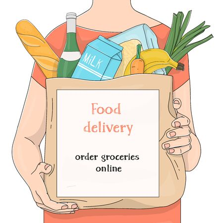 Unrecognizable person carries a paper bag from a supermarket with products with an advertisement on it. Groceries, fruits, vegetables. Template. Colorful vector illustration on white background. Hand-drawn. Illustration