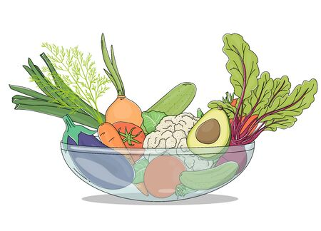 Farm vegetables in a dish on a white background. Colorful vector illustrations. Hand-drawn. For advertising, website, booklets, leaflets. Stockfoto - 142838384