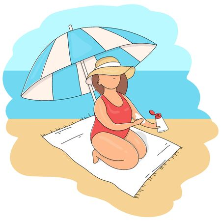 Woman in a hat and under a beach umbrella smears sunscreen on her body. Summer vacation on the beach. Colorful vector illustrations.