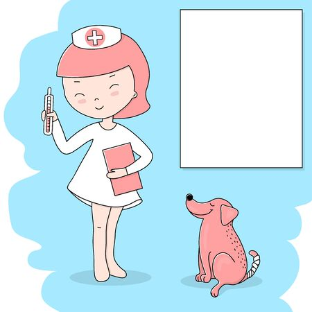 Cute little girl in a doctor's suit with a thermometer plays doctor and treats her dog. Colorful vector illustrations. Template. Mock up. Space for your text.