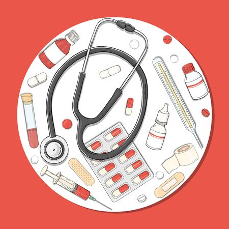 Poster on a health theme. A set with a stethoscope, medications and tablets arranged in a circle. Colorful vector illustration in sketch style on a red background.