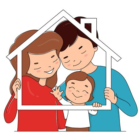 Happy family. The father, mother and child hold a frame in the shape of a house. Colorful vector illustration on a white background.