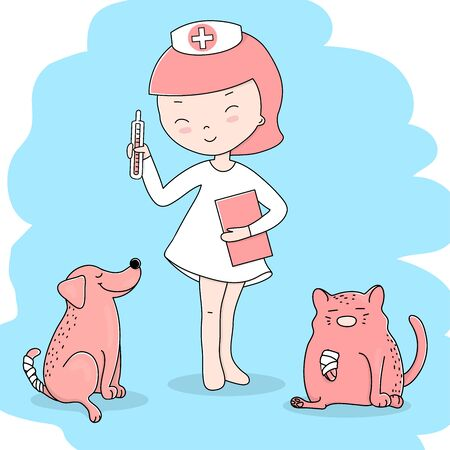 ute little girl in a doctors suit is playing doctor. She treats her dog and cat. Colorful vector illustrations. Illustration