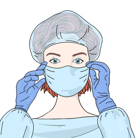 Female doctor wears a disposable medical surgical face mask, medical beanie, and rubber gloves. Portrait. Colorful vector illustration in sketch style. Hand-drawn.
